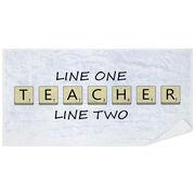 Personalized Premium Beach Towel - Teacher Tiles