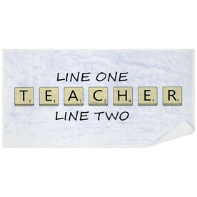 Personalized Premium Beach Towel - Teacher Tiles