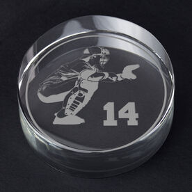 Baseball Personalized Engraved Crystal Gift - Personalized Silhouette (Catcher)