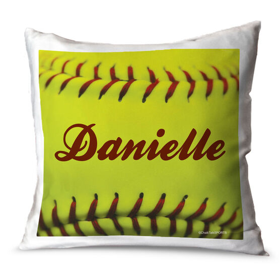 Softball Throw Pillow Personalized Softball Stitches