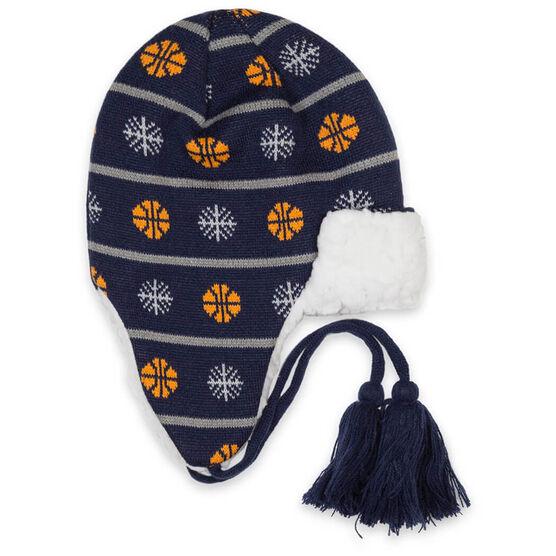Basketball Sherpa Trapper Hat - Snowflake