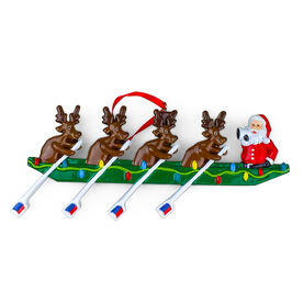Rowing Reindeer Resin Ornament