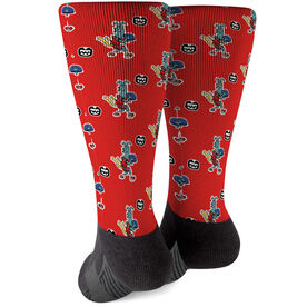 Seams Wild Football Printed Mid-Calf Socks - Spiral (Pattern)