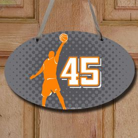 Basketball Oval Room Sign Personalized Basketball Guy with Dots Background