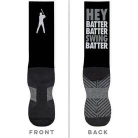 Baseball Printed Mid-Calf Socks - Hey Batter