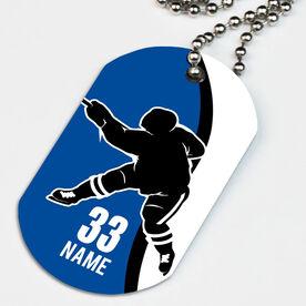 Hockey Printed Dog Tag Necklace Personalized Player Slapshot