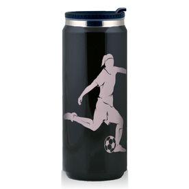 Stainless Steel Travel Mug Soccer Player Girl Silhouette