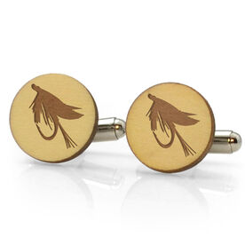 Fly Fishing Engraved Wood Cufflinks Wet Fly