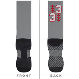 Baseball Printed Mid-Calf Socks - Three Up Three Down