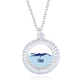 Swimming Braided Circle Necklace - Female Swimmer Silhouette With Name