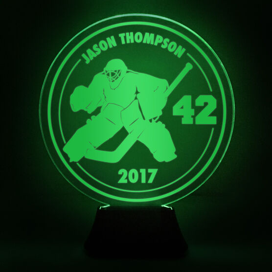 Hockey Acrylic LED Lamp Round Goalie With Name, Number and Year