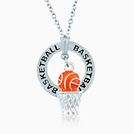 Basketball Net Charm and Message Ring Necklace
