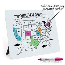 Fly Fishing Desk Art - States We've Fished Outline