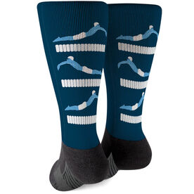 Swimming Printed Mid-Calf Socks - Swim Meet Guy