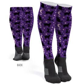 Printed Knee-High Socks - Spooky Cats