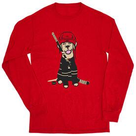 Hockey Tshirt Long Sleeve - Hunter The Hockey Dog