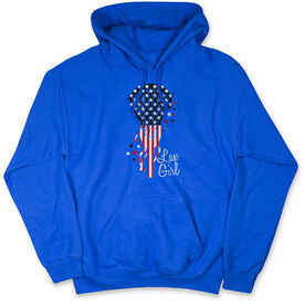 Girls Lacrosse Hooded Sweatshirt - Patriotic Lax Girl