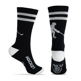 Hockey Woven Mid-Calf Socks - Player (Black/White)