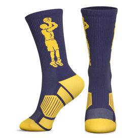 Basketball Woven Mid-Calf Socks - Player Jump shot (Navy/Maize)