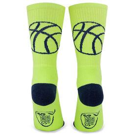 Basketball Woven Mid Calf Socks - Ball Silhouette (Neon Yellow/Navy Blue)