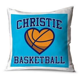 Basketball Throw Pillow Personalized Basketball Heart
