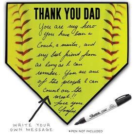 Softball Home Plate Plaque - Thank You Dad