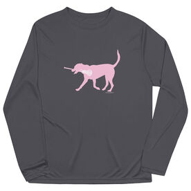 Girls Lacrosse Long Sleeve Performance Tee - LuLa the Lax Dog(Pink)