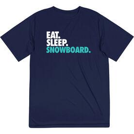 Skiing & Snowboarding Short Sleeve Performance Tee - Eat. Sleep. Snowboard.