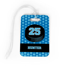 Hockey Bag/Luggage Tag - Personalized Hockey Puck with Dots Background
