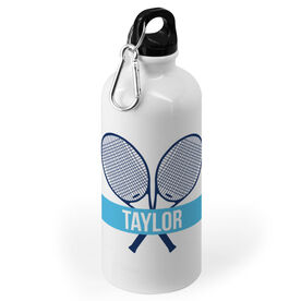 Tennis 20 oz. Stainless Steel Water Bottle - Personalized Crossed Tennis Rackets