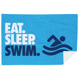 Swimming Premium Blanket - Eat. Sleep. Swim. Horizontal