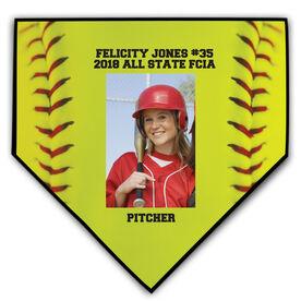 Softball Home Plate Plaque - Vertical Photo