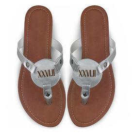 Running Engraved Thong Sandal - Roman Numeral 26.2