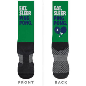 Ping Pong Printed Mid-Calf Socks - Eat Sleep Ping Pong