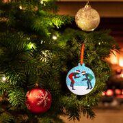 Wrestling Round Ceramic Ornament - Silhouettes with Santa Hat