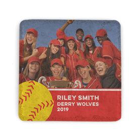 Softball Stone Coaster - Team Photo with Ball