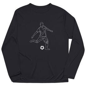 Soccer Long Sleeve Tech Tee - Soccer Guy Player Sketch