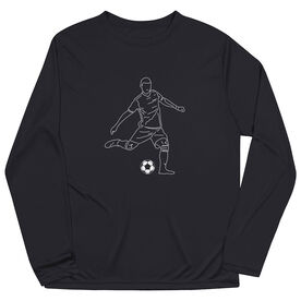 Soccer Long Sleeve Performance Tee - Soccer Guy Player Sketch