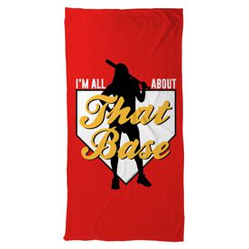 Softball Beach Towel I'm All About That Base