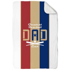Baseball Sherpa Fleece Blanket - Greatest Dad Stripes