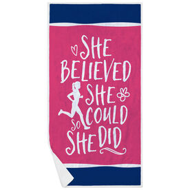 Running Premium Beach Towel - She Believed She Could (Sketch)