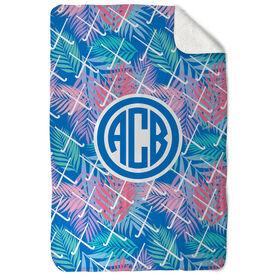 Field Hockey Sherpa Fleece Blanket - Tropical Palm Monogram