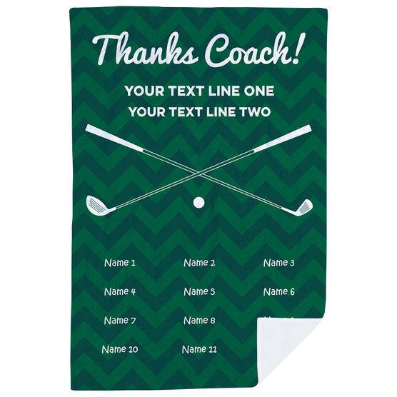 Golf Premium Blanket - Personalized Thanks Coach Chevron