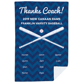 Baseball Premium Blanket - Personalized Thanks Coach Chevron