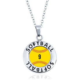 Softball Circle Necklace - Ball With Number