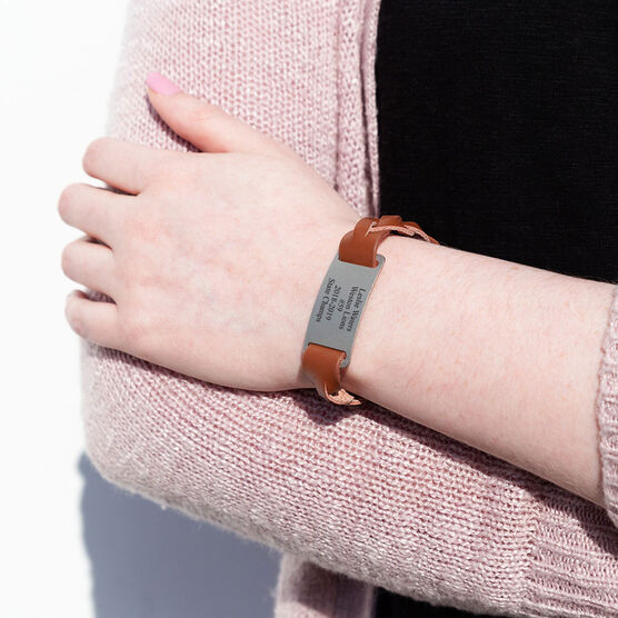 Leather Bracelet with Engraved Plate - Your Text