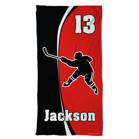Hockey Beach Towel Personalized Slapshot