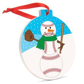 Baseball Round Ceramic Ornament - Baseball Snowman