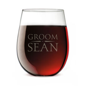 Personalized Stemless Wine Glass - Elegant Groom Crest