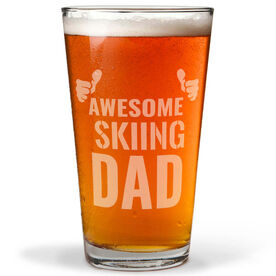 Skiing 16 oz. Beer Pint Glass Awesome Dad